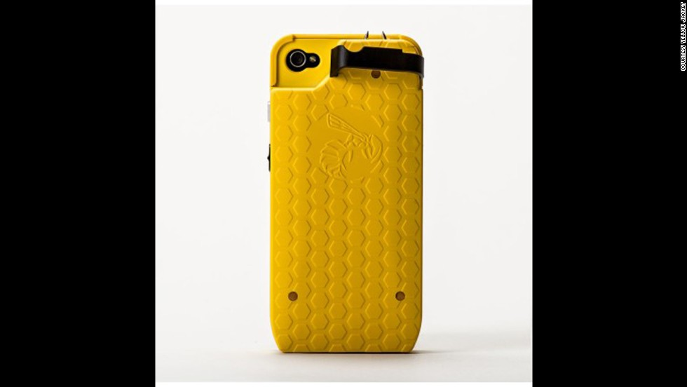 "Another personal-protection case, the <a href=""http://www.yellowjacketcase.com/]"" target=""_blank"">Yellow Jacket</a>, packs a powerful stun gun and was developed by a former military police officer. The Yellow Jacket's case delivers 650,000 volts of electricity to would-be assailants, retails for about $100 and is available for iPhone 4 and 5."