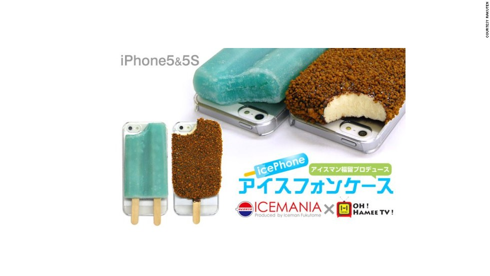 "Available in ""crunch type"" or ""soda type,"" this <a href=""http://pitayum.fr/view/article/52192-ice-pop-phone-case"" target=""_blank"">""IcePhone""</a> for iPhones is surprisingly realistic. Because who doesn't want a popsicle stuck to their phone? The crunch version looks like it's been dipped in chocolate and covered in nuts -- and belongs in your mouth instead of pressed to your ear."
