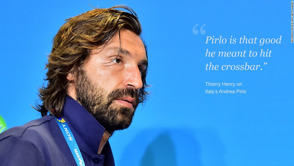 Balotelli's Italy teammate Andrea Pirlo is something of a cultural icon.<br /><br />Women want him, men want to be him, with every sublime swing of the midfielder's boot sending shockwaves of adoration throughout social media.<br /><br />The Juventus playmaker is also a master of taking free-kicks and when he sent a sumptuous long-distance shot crashing into the England crossbar in a Group D match, the football world produced a collective gasp.<br /><br />Such is his mastery of a deadball, French World Cup winner Thierry Henry proclaimed that Pirlo had intended to hit the frame of the goal, rather than find the back of England goalkeeper Joe Hart's net.