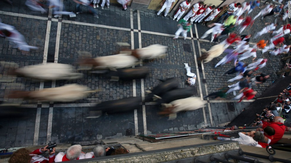 The excitement of the eight-day Running of the Bulls is captured in this image from July 2009.