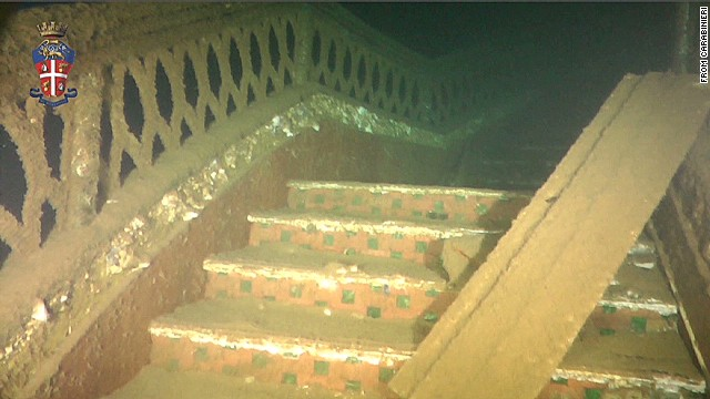 Italian police release footage showing the underwater exterior and interior of the wrecked cruise ship Costa Concordia.