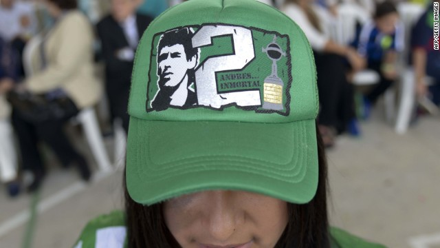 A supporter of late Colombian footballer Andres Escobar attends a ceremony in his honour in Medellin, Antioquia department, Colombia on July 2, 2014.