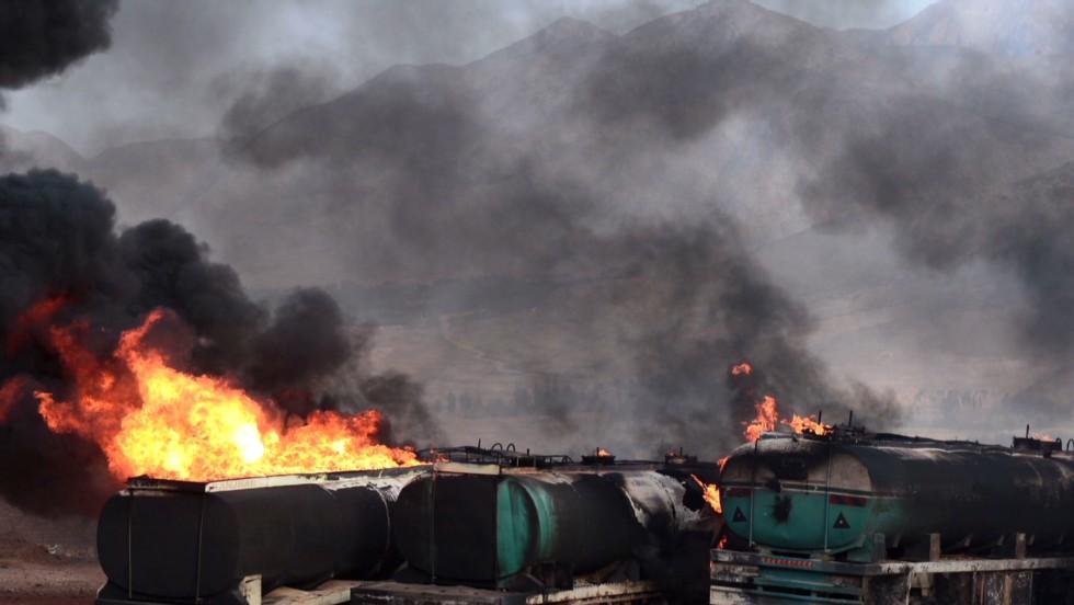 400 trucks burn on Afghan roads