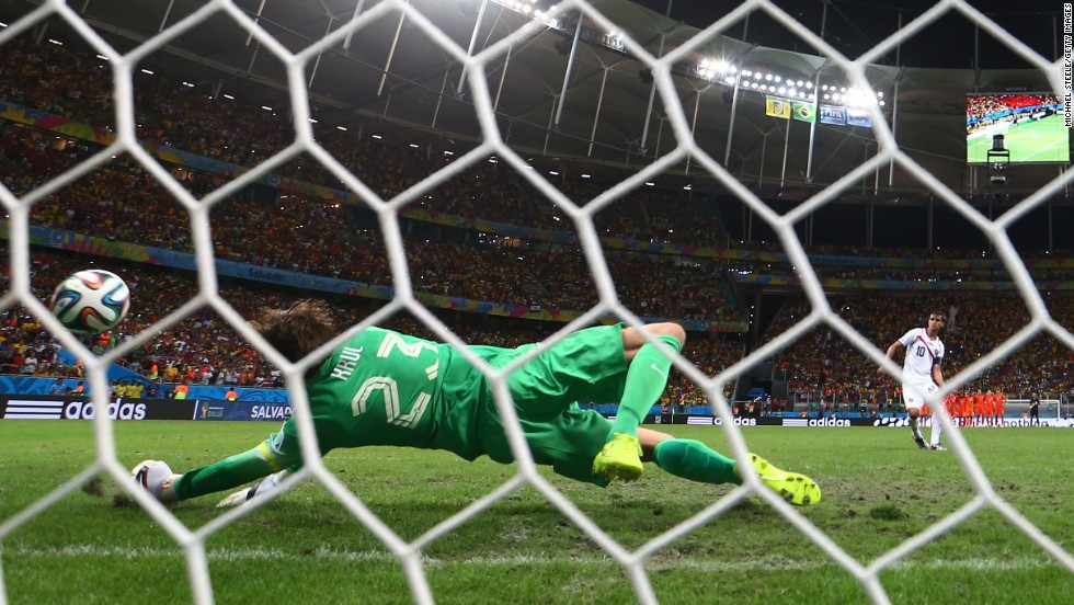 Goalkeeper Tim Krul of the Netherlands saves the penalty shot of Bryan Ruiz of Costa Rica.