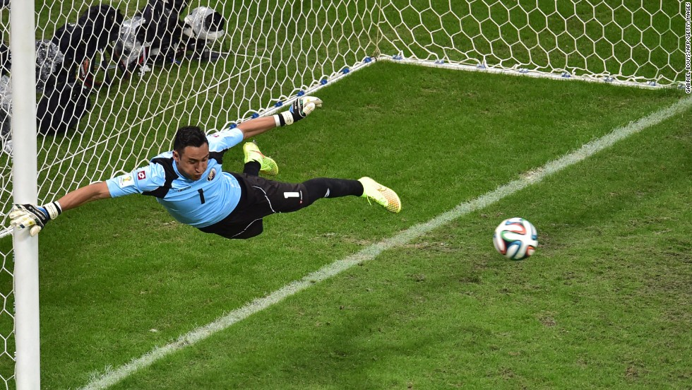 Costa Rica goalkeeper Keylor Navas jumps to make a save.