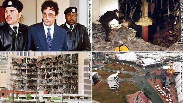 Clockwise from top left: Convicted Lockerbie bomber Abdel Baset Ali Mohmed al Megrahi (1992), World Trade Center garage (1993), Atlanta Centennial Olympic Park (1996), Federal Building in Oklahoma City (1995).
