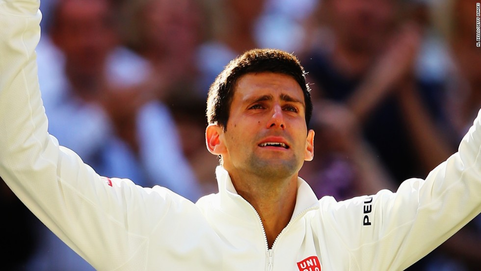 Tears of a champion. Novak Djokovic shows how much victory meant to him after a five-set classic against Roger Federer.