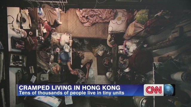 Hong Kong families live in tiny units