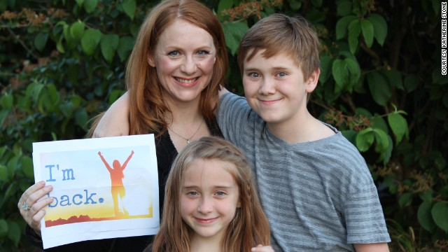 Katherine Stone, founder of Postpartum Progress, along with her son, Jackson Callis, 12, and daughter, Madden Callis, 8.