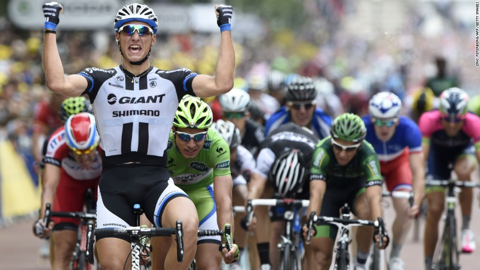 Kittel celebrates his success and looks the man to beat in the bunch sprints now Cavendish has exited the race.