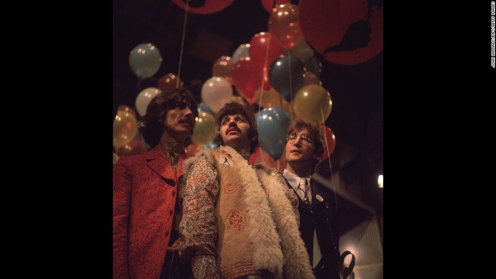 In stereotypical 1967 attire, George Harrison, Ringo Starr and John Lennon of the Beatles, at the EMI studios in Abbey Road, as they prepare for 'Our World', a world-wide live television show broadcasting to 24 countries with a potential audience of 400 million.