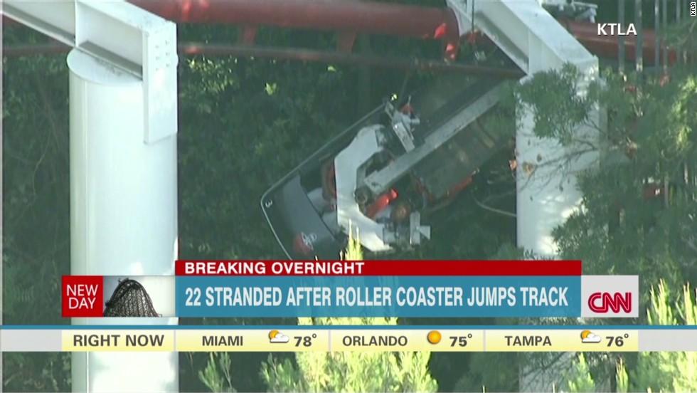 Six Flags roller coaster car derails, 4 injured