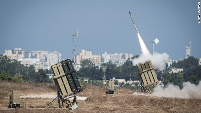 Israel's Iron Dome air-defense system fires to intercept a rocket over the city of Ashdod on July 8, 2014, in Ashdod, Israel.