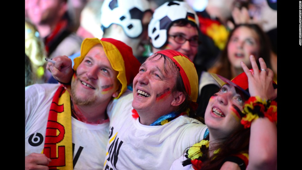 Germany fans watch during a public viewing at the Brandenburg Gate in Berlin.