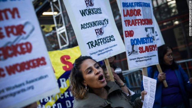 Protestors march against labor trafficking and modern day slavery in New York City, 2013.