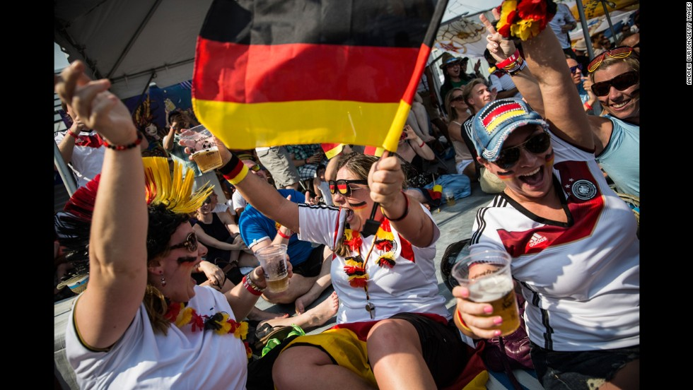 Germany fans celebrate a goal while watching the match in New York.