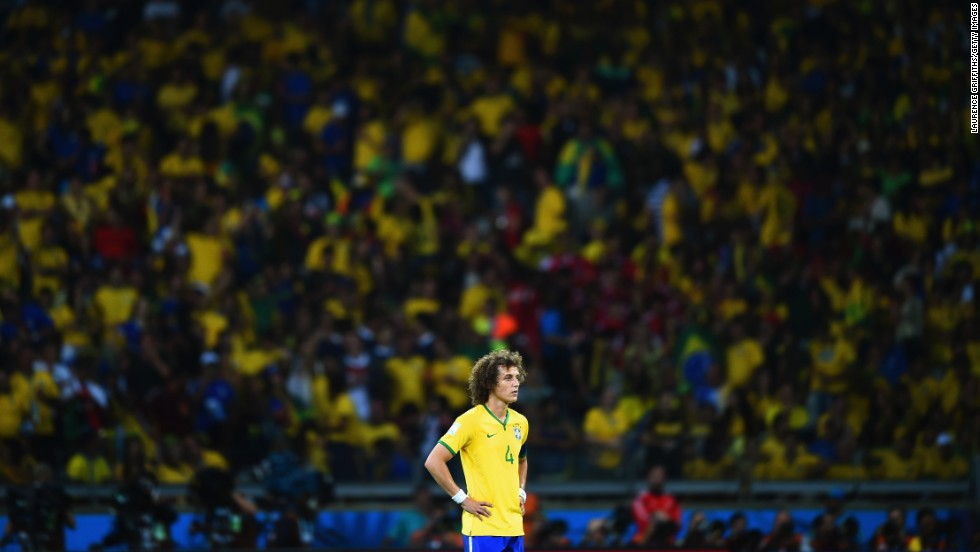 David Luiz looks on after Germany's sixth goal.