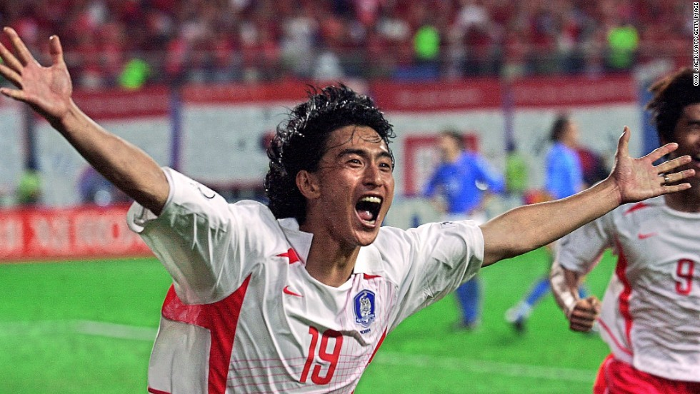 <strong>South Korea 2-1 Italy (2002): </strong>Co-host South Korea was not heavily fancied to do anything of note but, under the guidance of Dutch coach Guus Hiddink, made it to the semifinals by beating Spain in a penalty shootout. But its biggest achievement was in the previous round, knocking out Italy -- three times a World Cup champion, with another title to follow in 2006.  Ahn Jung-Hwan sparked rapture in the stands with his golden goal -- but his contract was promptly canceled by Italian Serie A side Perugia, where he was on loan.