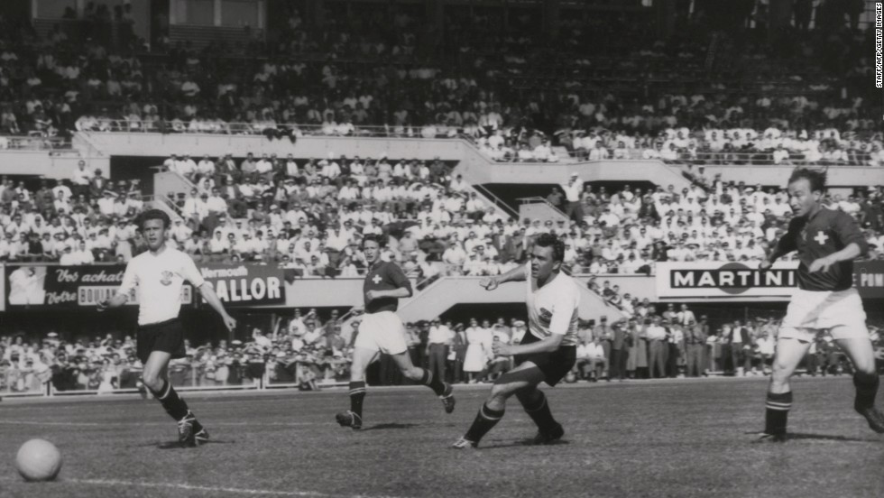 <strong>Austria 7-5 Switzerland (1954):</strong> The result was not a shock in the sense of the outcome of this quarterfinal match, but merely in the scoreline. A record 12 goals were scored, including a hat-trick by Swiss forward Josef Hugi, to exceed the 11 scored by Brazil and Poland in 1938's 6-5 result.