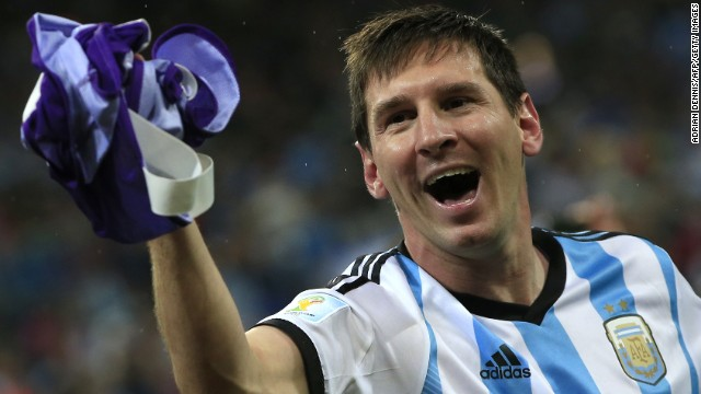 Argentina's forward and captain Lionel Messi celebrates his team's victory at the end of the semi-final football match between Netherlands and Argentina of the FIFA World Cup at The Corinthians Arena in Sao Paulo on July 9, 2014. Argentina won 4-2 on penalties.  AFP PHOTO / ADRIAN DENNIS