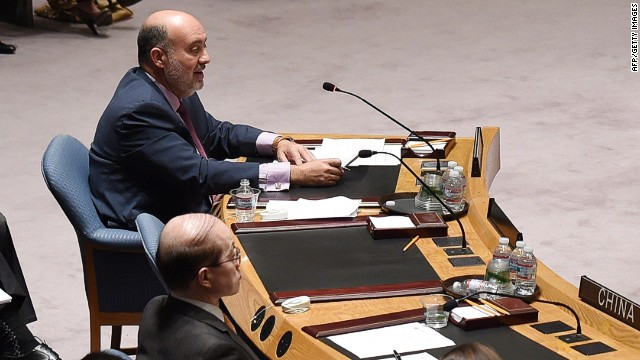 Israel's Ambassador to the UN Ron Prosor (L) speaks to the United Nations Security Council as Palestine's Ambassador to the UN Riyad H. Mansour (R) listens during a meeting to discuss the situation in the Middle East July 10, 2014 at the United Nations in New York. AFP PHOTO/Don EmmertDON EMMERT/AFP/Getty Images