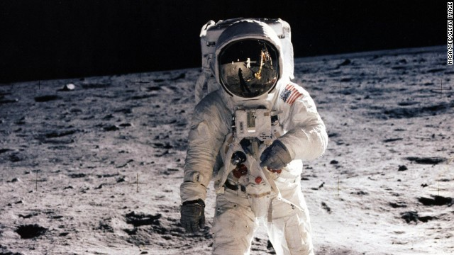 Picture taken on July 20, 1969 shows astronaut Edwin E. Aldrin Jr., lunar module pilot, walking on the surface of the moon during the Apollo 11 extravehicular activity (EVA).