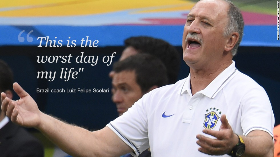 Amid all the tweets and goals, Brazil coach Luis Felipe Scolari had to watch from the sidelines as one of the grimmest days in the nation's football history unfolded.