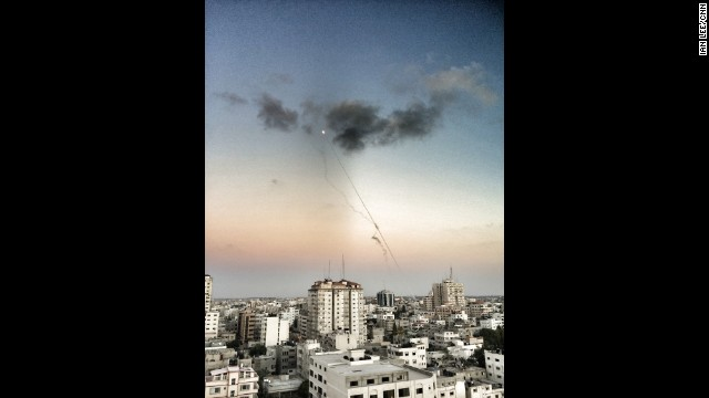 GAZA CITY:  Rockets being fired from Gaza into Israel.  Photo by CNN's Ian Lee, July 13.  Palestinians struggle to find safety as Israel and Hamas continue attacks.   FULL STORY AT CNN.COM.   Follow Ian (@ianjameslee) and other CNNers along on Instagram at instagram.com/cnn.