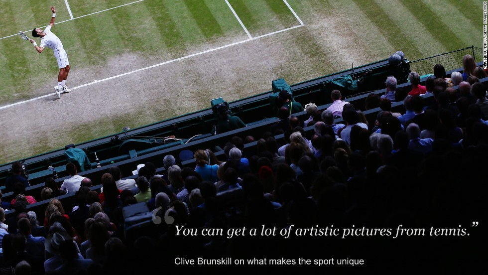 "Compared to other sports like football, Brunskill enjoys the opportunities for artistic photographs that tennis presents.<br /><br />""The only thing I think it's similar to is golf because golf has got that same sort of country club feel to it,"" he explained.<br /><br />The lush green grass and ivy-covered Centre Court also make Wimbledon particularly easy on the eye, but the raft of rules at tennis' oldest grand slam present a unique set of challenges.<br /><br />""It's one of the hardest ones to do because you are limited a little on space, whereas at other tournaments you can just walk into the crowd and shoot from the public seats and get your angles. <br /><br />""It's just tradition here and you stick by the rules and you don't break rules.""<br />"
