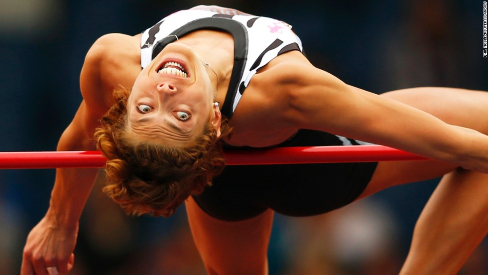 Blanka Vlasic of Croatia competes in the women's high jump during the IAAF Diamond League competition in Glasgow, Scotland, on Saturday, July 12. Vlasic won her event.