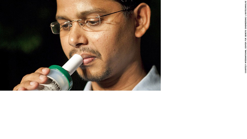 In 2011, Grand Challenges Canada and the Gates Foundation allocated $950,000 for research into a hand-held breathalyzer device to test for TB.<br />Pictured, Lead researcher Ranjan Nanda demonstrates the BIO-VOC, (funded through the Grand Challenges Canada's Co-Funded Phase II GCE program).