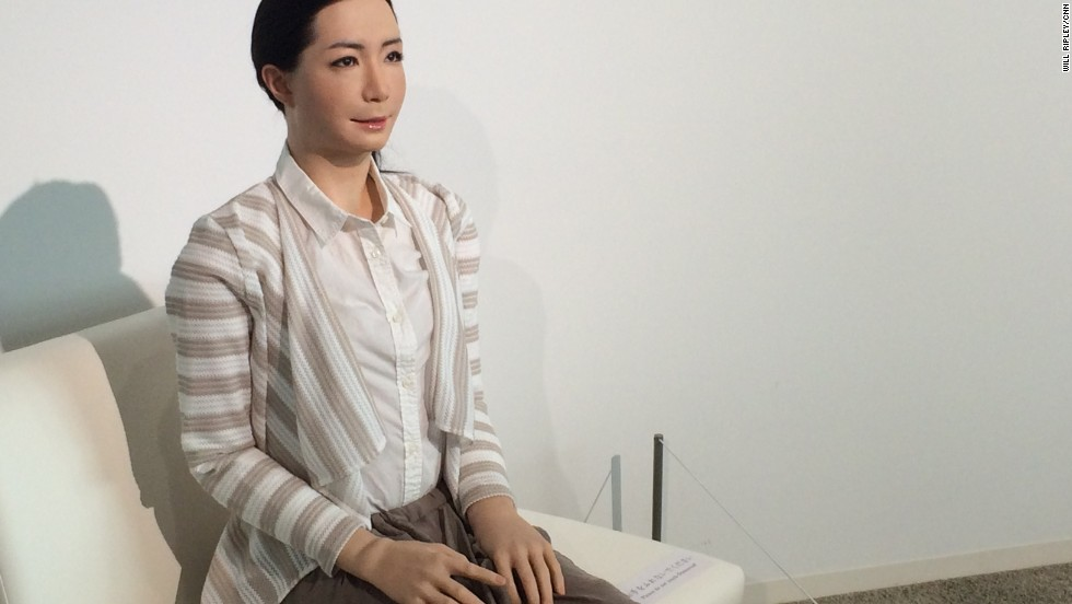Otonaroid, on display at the National Museum of Emerging Science and Innovation in Tokyo, has movements and facial expressions are designed to be lifelike, although a human is always at the controls.