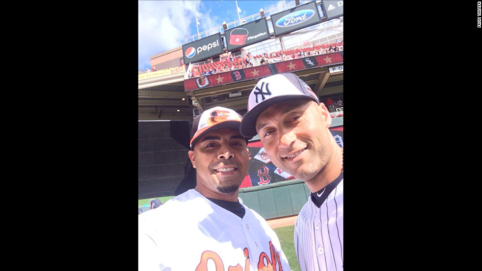 "Nelson Cruz of the Baltimore Orioles, left, posted this selfie with New York Yankees shortstop Derek Jeter on Tuesday, July 15, before the two played in the Major League Baseball All-Star Game in Minneapolis. ""Selfie with the Captain. Selfie con el Capitan. #DerekJeter,"" Cruz tweeted. Jeter is retiring at the end of this season."