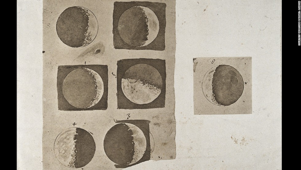 "<em><strong>Galileo Galilei, 1610</strong><strong></em> </strong><br /><br />Galileo Galilei, who has been called the ""father of modern science,"" was the first to publish drawings of the moon as seen through a telescope. These wash drawings, published in his treatise <em>Sidereus Nuncius (Sidereal Messenger), </em>show the surface of the moon during its different phases. <br /><br />At the time, it was both groundbreaking and controversial for Galileo to depict the moon as mountainous and irregular. In doing so, he directly challenged (and disproved)  Aristotle's widely believed theory that the moon -- and all other celestial bodies -- were perfectly smooth and spherical."