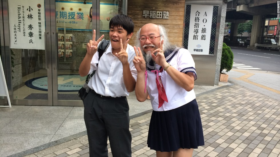 "Kobayashi is known online as ""Sailor Fuku Ojisan"" -- which translates ""old guy in a sailor outfit."""