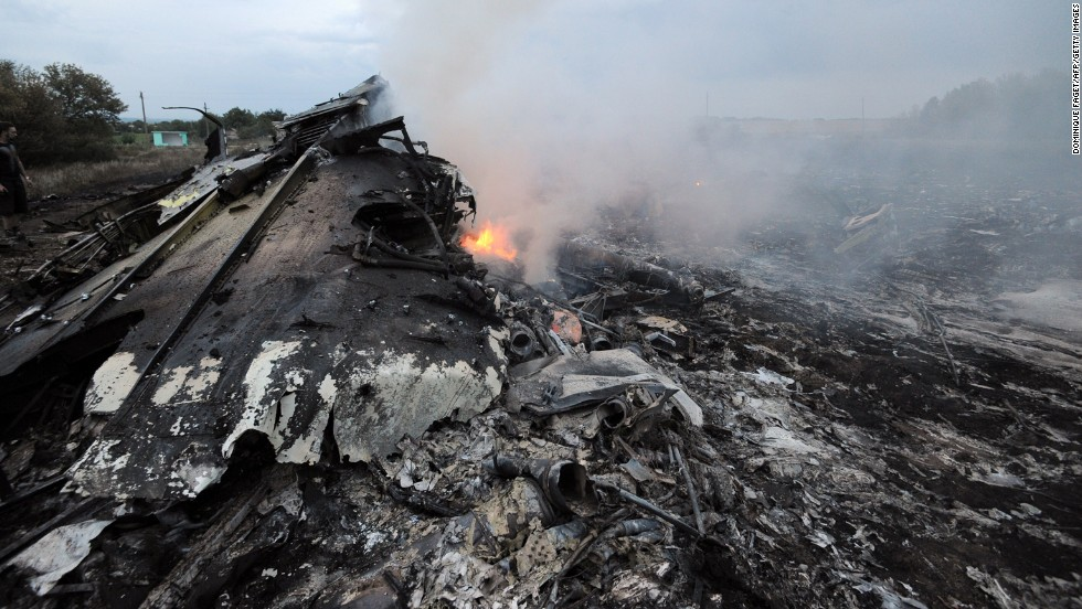 Wreckage burns in Ukraine.