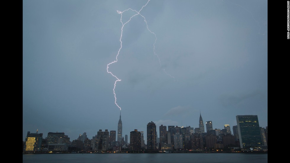 A bolt of lightning strikes the Empire State Building during a summer rainstorm in New York on Tuesday, July 15.