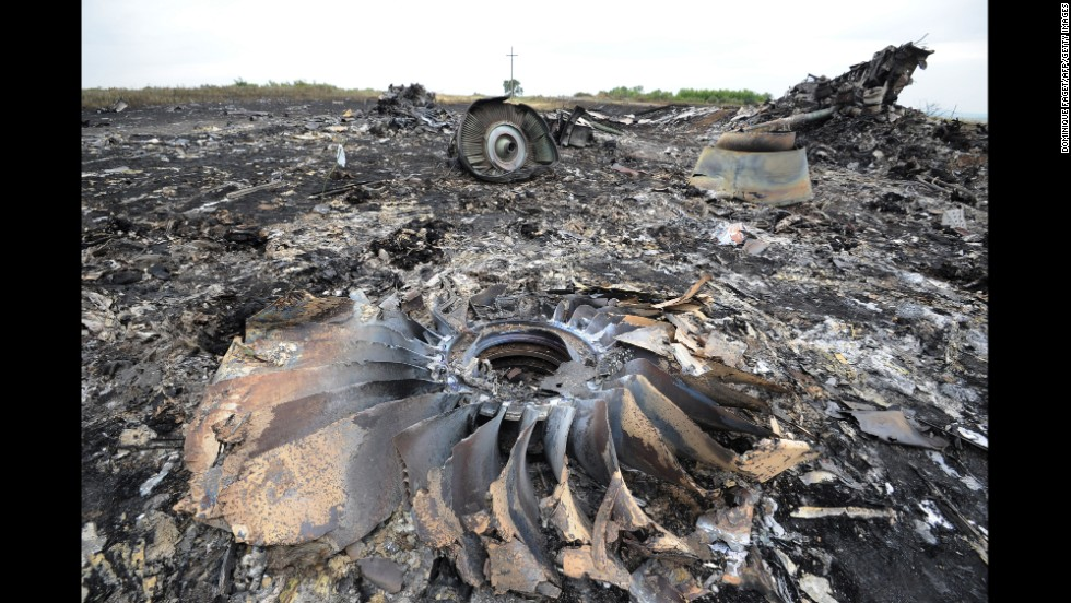 Wreckage from the Boeing 777 lies on the ground July 18, 2014.