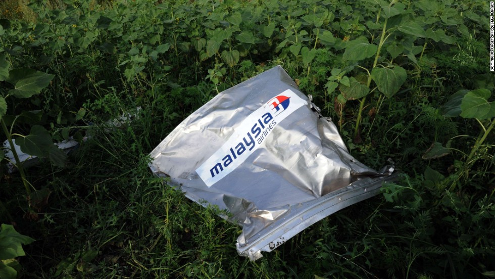 An envelope bearing the Malaysia Airlines logo is seen at the crash site on July 19, 2014.