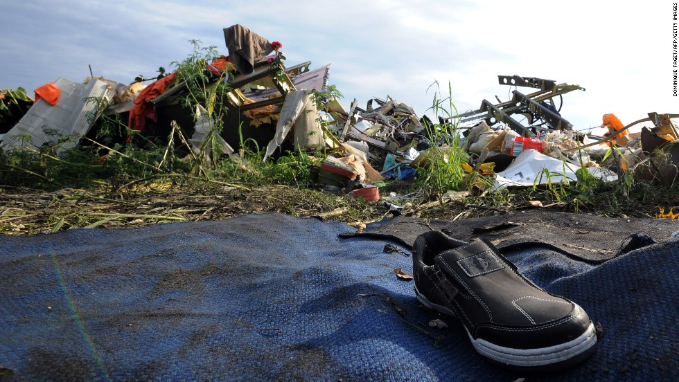 A single shoe is seen among the debris and wreckage on July 19. There has been concern that the site has not been sealed off properly and that vital evidence is being tampered with.