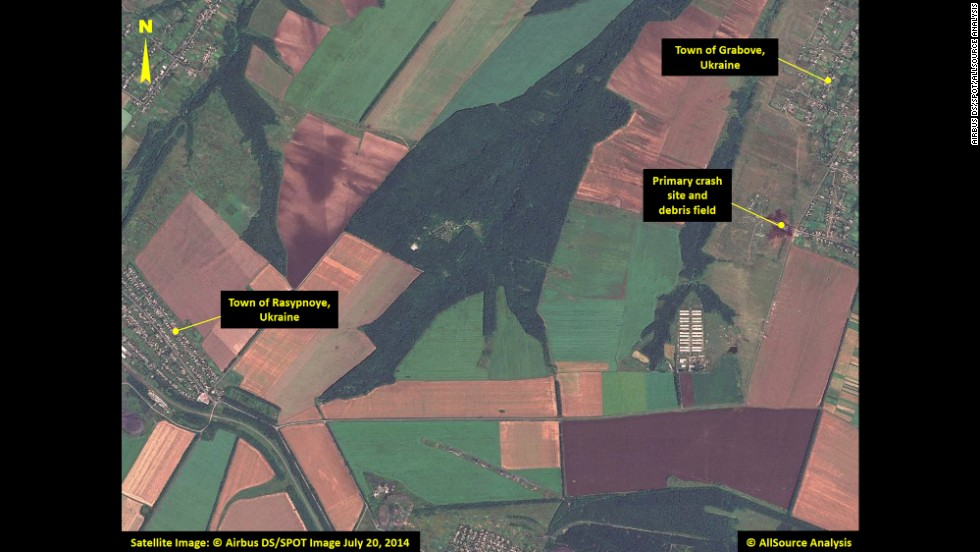 "This satellite image shows the primary crash site of Malaysia Airlines Flight 17 between the towns of Hrabove (spelled Grabove in Russian) and Rasypnoye, Ukraine. The Boeing 777 was shot down Thursday, July 17, with a surface-to-air missile in Ukrainian territory controlled by pro-Russian rebels. All 298 people aboard died. The satellite imagery was collected on Sunday, July 20, by <a href=""http://airbusdefenceandspace.com/"" target=""_blank"">Airbus Defense & Space</a>, and was analyzed by <a href=""http://www.allsourceanalysis.com/"" target=""_blank"">AllSource Analysis</a>. Click through to see more of the satellite imagery:"