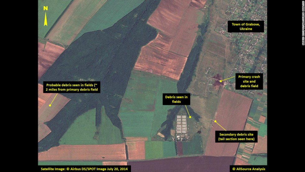 Multiple locations with debris are pointed out in this image, including the site of the plane's tail section.