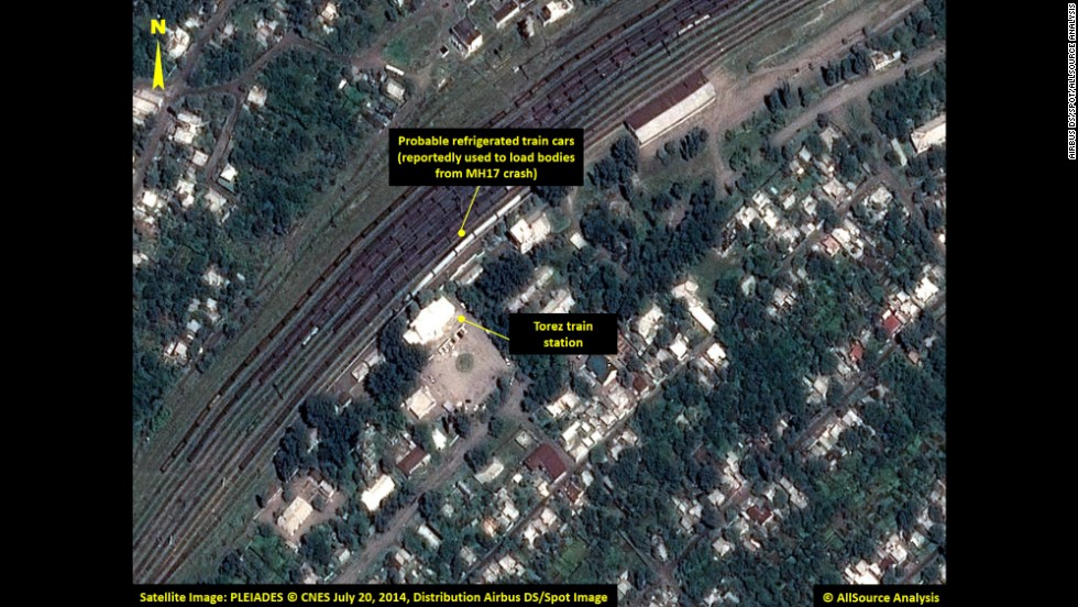 Refrigerated train cars are visible in this satellite image. Search teams have recovered 272 bodies, 251 of which have been loaded on trains with refrigerators, Ukrainian Prime Minister Arseniy Yatsenyuk said.