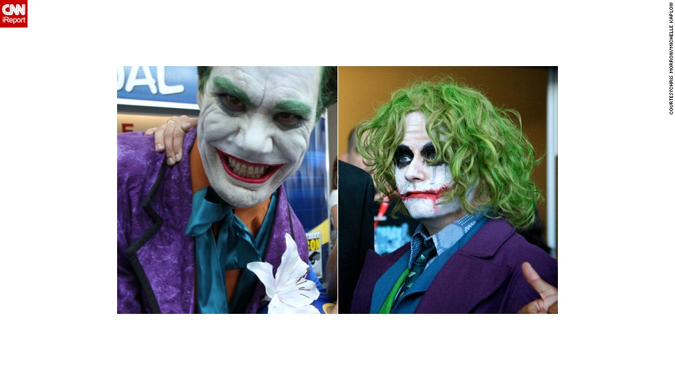 Two very different Jokers - one looking like Jack Nicholson, the other like Heath Ledger - from Comic-Con 2010. Choose your favorite below.