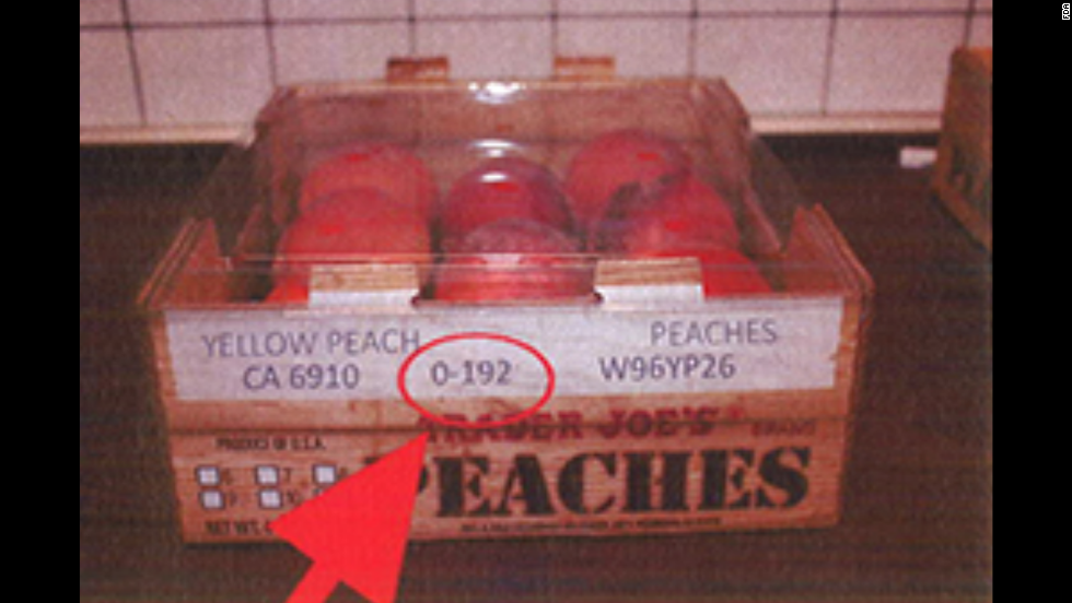 "Trader Joe's peaches (4-4.5 lbs.). <a href=""http://www.fda.gov/Safety/Recalls/ucm405943.htm"" target=""_blank"">Click here</a> to view a full list of the recalled products on FDA.gov."