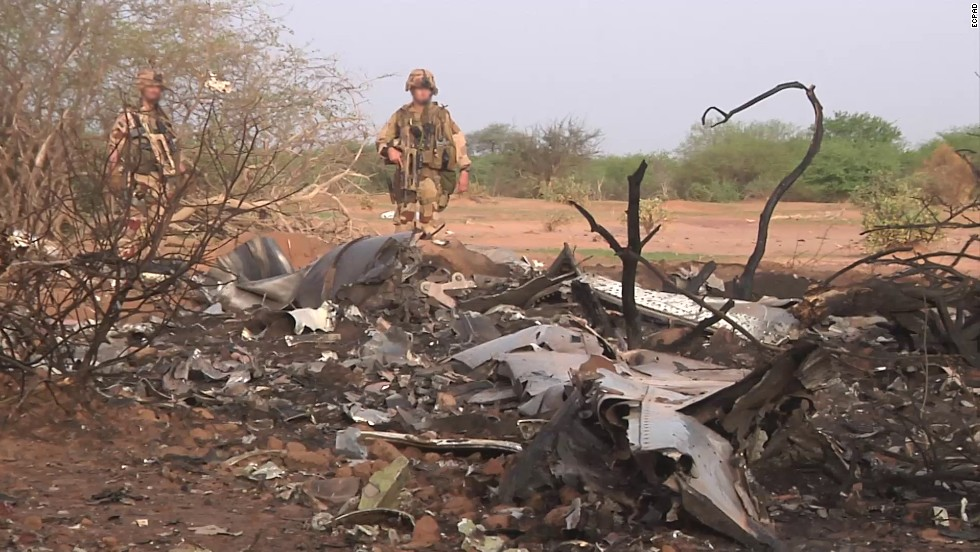 Wreckage of Air Algerie Flight 5017 was secured by French forces in northern Mali, not far from the border with Burkina Faso, according to French President Francois Hollande.