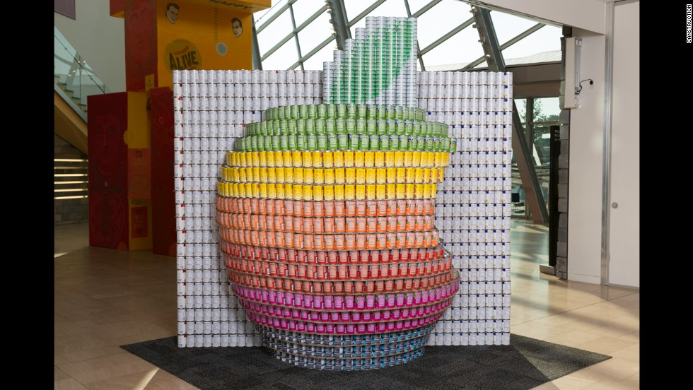 "AECOM's Apple ""cansculpture"" included nearly 5,000 cans."