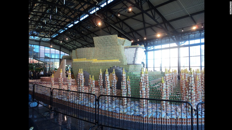 RTKL architects in Chicago created this sculpture of John Deere machinery out of 308,000 cans.