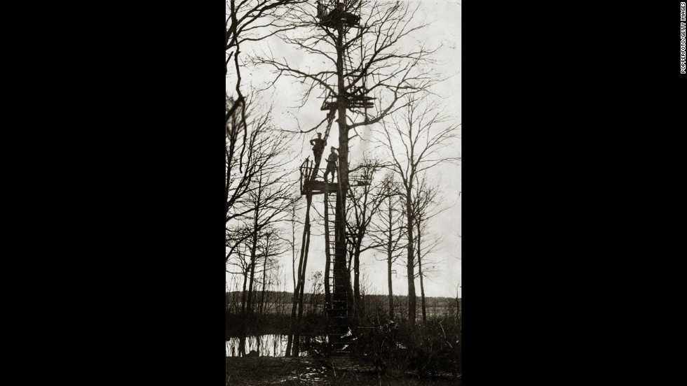 Surveillance was sometimes more low-tech, as in this German observation post in a tree during the Battle of Verdun, 1916 ...