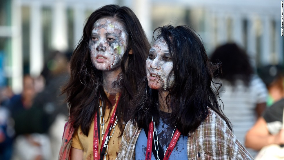 Girls are dressed as zombies on July 24.